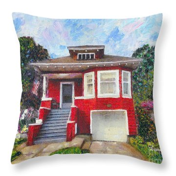 Throw Pillow featuring the painting Colonial Revival High Basement Cottage 1907  by Linda Weinstock