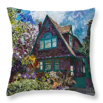 Alameda 1907 Traditional Pitched Gable - Colonial Revival Throw Pillow by Linda Weinstock