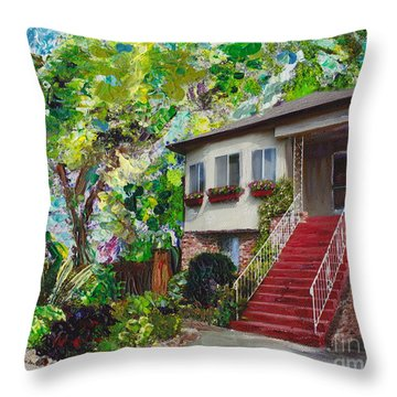 Throw Pillow featuring the painting Alameda 1908 Duplex by Linda Weinstock