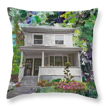 Throw Pillow featuring the painting Alameda 1933 Duplex - American Foursquare  by Linda Weinstock