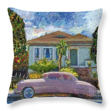 Alameda 1908 House 1950 Pink Dodge Throw Pillow by Linda Weinstock