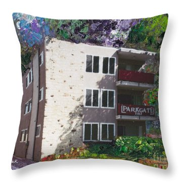 Throw Pillow featuring the painting Alameda 1964 Apartment Architecture   by Linda Weinstock