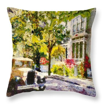 Alameda  Afternoon Drive Throw Pillow by Linda Weinstock