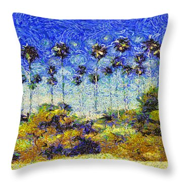 Throw Pillow featuring the painting Alameda Famous Burbank Palm Trees by Linda Weinstock