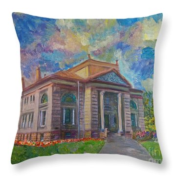 Throw Pillow featuring the mixed media Alameda Carnegie Library 1899 by Linda Weinstock