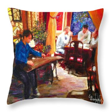 Guzheng Throw Pillow by Linda Weinstock
