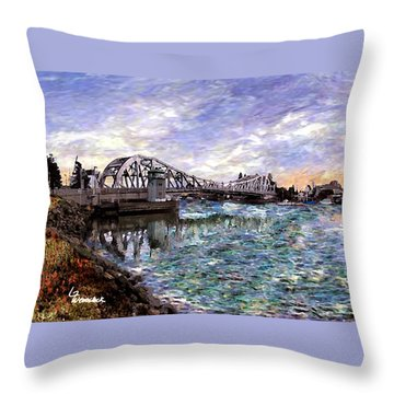 Throw Pillow featuring the painting Alameda High Street Bridge  by Linda Weinstock