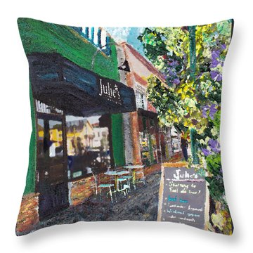 Alameda Julie's Coffee N Tea Garden Throw Pillow by Linda Weinstock