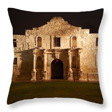 Alamo Mission Entrance Front Profile At Night In San Antonio Texas Throw Pillow