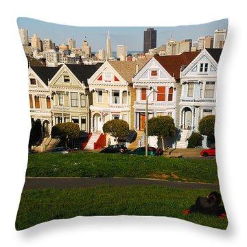 Alamo Square San Francisco Throw Pillow by James Kirkikis