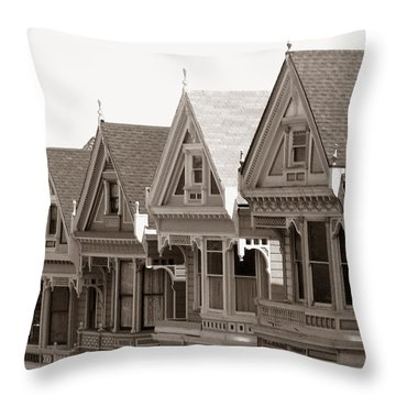 Throw Pillow featuring the photograph Alamo Square - Victorian Painted Ladies 2009 by Connie Fox