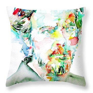 Alan Watts Watercolor Portrait Throw Pillow by Fabrizio Cassetta