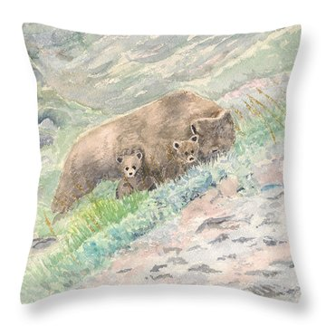 Alaska - Grizzly And Cubs Throw Pillow