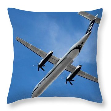 Airplanes Throw Pillow featuring the photograph Alaska Airlines Turboprop Wide Version by Aaron Berg