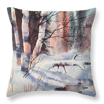 Alaska Birch II Throw Pillow by Teresa Ascone