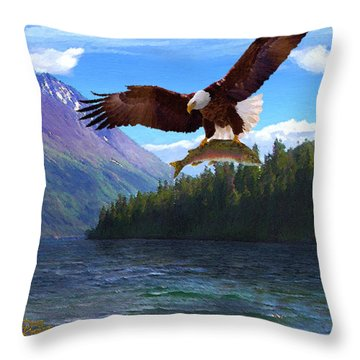 Throw Pillow featuring the painting Alaska Fly Fishing by Doug Kreuger