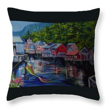 Alaska. Ketchikan Throw Pillow
