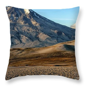 Throw Pillow featuring the photograph Alaska Landscape Scenic Mountains Snow Sky Clouds by Paul Fearn