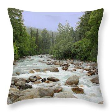 Alaska - Little Susitna River Throw Pillow by Kim Hojnacki