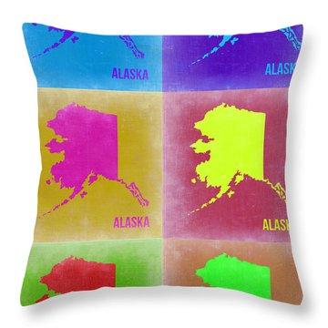 Alaska Pop Art Map 2 Throw Pillow by Naxart Studio