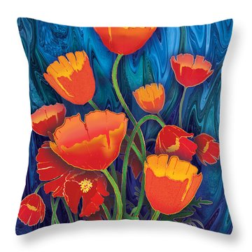 Throw Pillow featuring the mixed media Alaska Poppies by Teresa Ascone