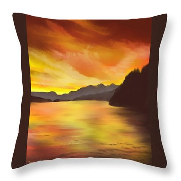 Throw Pillow featuring the painting Alaska Sunset by Terry Frederick