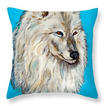 Throw Pillow featuring the painting Alaska White Wolf by Bob and Nadine Johnston