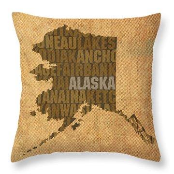 Alaska Word Art State Map On Canvas Throw Pillow