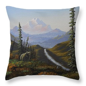 Alaskan Brown Bear Throw Pillow