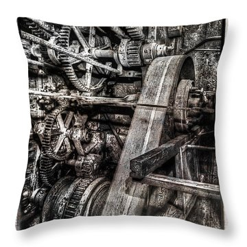Alaskan Gold-dredge Bucket Gear Train Throw Pillow by Daniel Hagerman