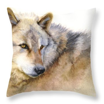 Throw Pillow featuring the painting Alaskan Gray Wolf by Bonnie Rinier