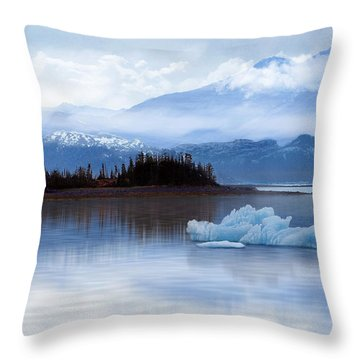 Throw Pillow featuring the digital art Alaskan Mountain Side by Nina Bradica