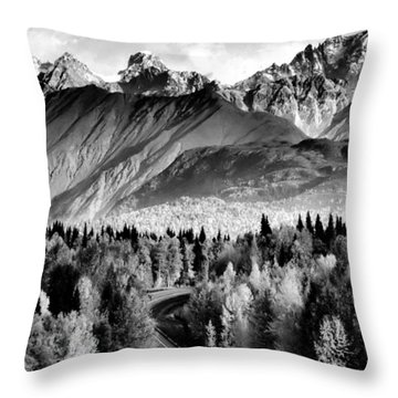 Alaskan Mountains Throw Pillow by Katie Wing Vigil