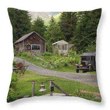 Alaskan Pioneer Mining Camp Throw Pillow