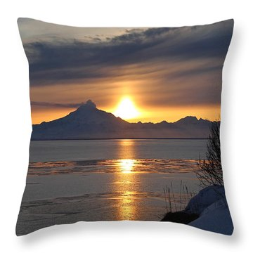Alaskan Sunset Throw Pillow by Rick  Monyahan