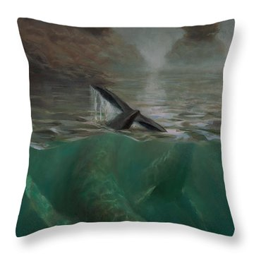 Humpback Whales - Underwater Marine - Coastal Alaska Scenery Throw Pillow
