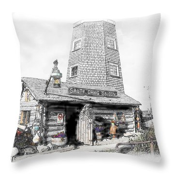 Throw Pillow featuring the photograph Alaska's Salty Dawg Saloon In B/w  by Dyle   Warren