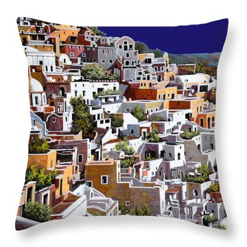 alba a Santorini Throw Pillow by Guido Borelli