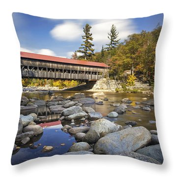 Albany Covered Bridge Throw Pillow by Eric Gendron