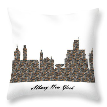 Albany New York 3d Stone Wall Skyline Throw Pillow
