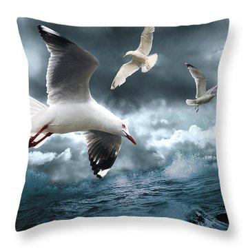 Albatross Throw Pillow by Linda Lees