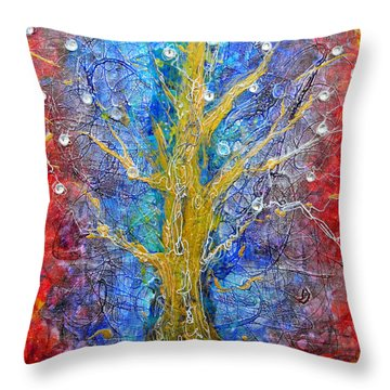 Albedo Tree Of Life 8 Throw Pillow by Regina Valluzzi