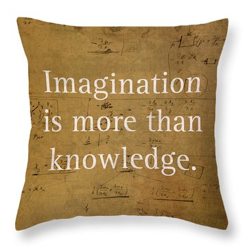 Albert Einstein Quote Imagination Science Math Inspirational Words On Worn Canvas With Formula Throw Pillow