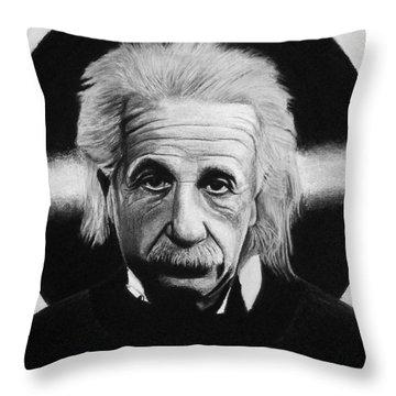 Albert Einstein Throw Pillow by Vishvesh Tadsare