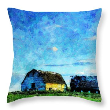 Alberta Barn At Sunset Throw Pillow