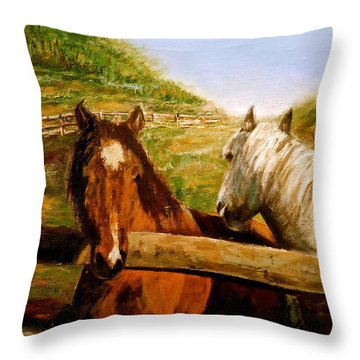 Throw Pillow featuring the painting Alberta Horse Farm by Sher Nasser