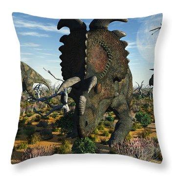 Albertaceratops Dinosaurs Grazing Throw Pillow by Mark Stevenson