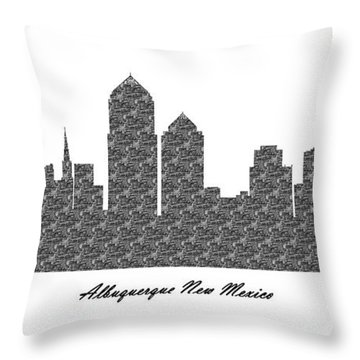 Albuquerque New Mexico 3d Bw Stone Wall Skyline Throw Pillow
