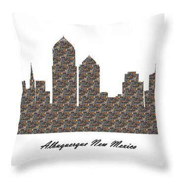 Albuquerque New Mexico 3d Stone Wall Skyline Throw Pillow