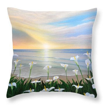 Alcatraces Throw Pillow by Angel Ortiz